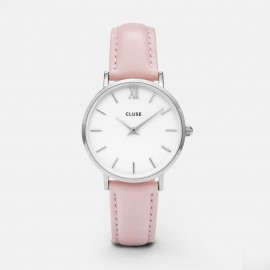 Cluse Minuit Silver  White / Pink