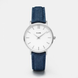 Cluse Minuit Silver White / Blue Denim